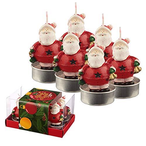 St@llion- Juego de 6 Velas de té navideñas con diseño de cascabeles de Papá Noel