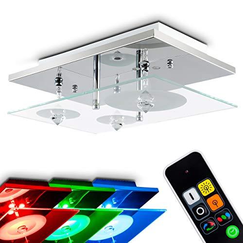 Stimmungsvolle Deckenleuchte | Wandleuchte Glas – LED Farbwechsler, Fernbedienung – Wohnzimmerlampe aus Glas mit kreisförmigem Dekors – 3 x G4-Fassungen – Lampe Wohnzimmer, Schlafzimmer, Flur
