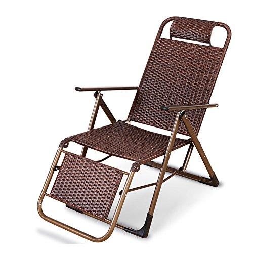 Sommer Mahjong Stuhl Mittagspause Stuhl Balkon Wicker Stuhl Outdoor Klappliege Freizeit Stuhl (Farbe : Kaffee - farbe)