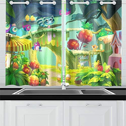JOCHUAN Große Augen Kamen Diese schöne Küche Vorhänge Fenster Vorhang Ebenen für Café Bad Wäscherei Wohnzimmer Schlafzimmer 26 * 39 Zoll 2 Stück