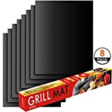 Ankier BBQ Grill Mat, Set of 8 Non Stick BBQ Baking Mats Reusable for Charcoal, Gas or Electric Grill  Easy to Clean, Heat Resistant Barbecue Sheets [Black]