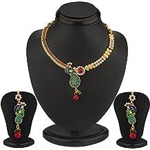 Indian Collar Bollywood juego de joyas para novia Fashion Meenakari pavo real Ruby