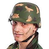 Carnival Toys - Yelmo militar con barboquejo para adultos, color verde (6145)