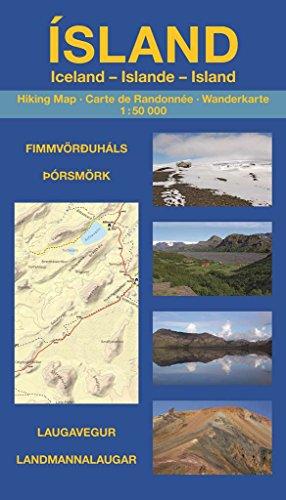 Islande - Carte de Randonnée (1:50.000): Landmannalaugar, Laugavegur, Þórsmörk & Fimmvörðuháls