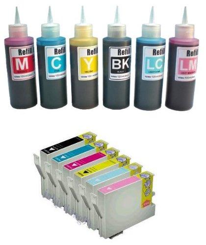 Kompatibel hohe Qualität Refillset Tintenpatronen und 6 x 100ml Nachfülltinte für T0807 Serie - T0801-T0806 EINEN Satz