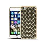 HULI Diamond Case Hülle Schwarz für Apple iPhone 6 Plus / 6s Plus Smartphone - Diamant Handyhülle aus TPU Silikon - Luxus Schutzhülle - sicherer Schutz Wabe Kaleidoskop