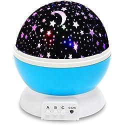 Luz de Bebé, VOSMEP Luz del Proyector Lámpara de Proyección Luz de la Noche del Bebé 360 Grados Rotatable 3 Modo de la Estrella y Luna Luz Nocturna del USB / Batería para Niños, Bebés, Regalos de la Navidad, Cuarto, Cuarto de los Niños, Boda, Cumpleaños, Fiestas (Azul) SH34