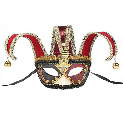 Mystery Männer Kostüm - VICV2RO Halloween-Maske für Männer und Frauen, Bar, Party, Dekoration, Mode, Festival, Mystery, Halbgesicht, Zubehör für Zuhause, Cosplay, Kostüm, Maskenball, Club, rot, Free Size