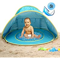 MG MULGORE Baby Beach Tent Portable Léger Pop Up Tente, Outdoor Beach Shade Protection UV Sun Shelters Baby Pool (Bleu)