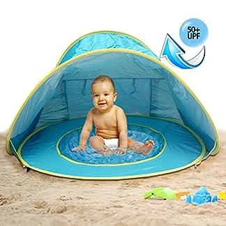 MG MULGORE Tienda de Playa para Bebés Portátiles Ligero Pop up Tienda, Sombra de Playa al Aire Libre Protección UV Sun albergues bebé Piscina (Azul)