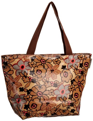 Re-uz Medium Oilcloth Tote Brown Flowers, Tote bag donna Marrone (Light Brown)