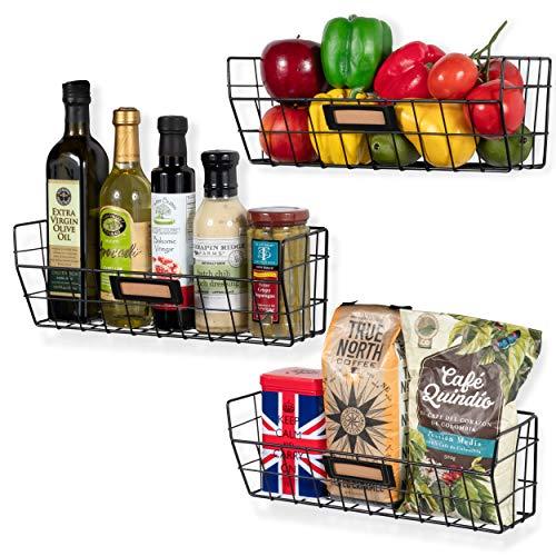 Wall35 Macon Wandmontagekorb für die Küche, Metalldraht, 3 Stück, Schwarz - Banane Olivenöl