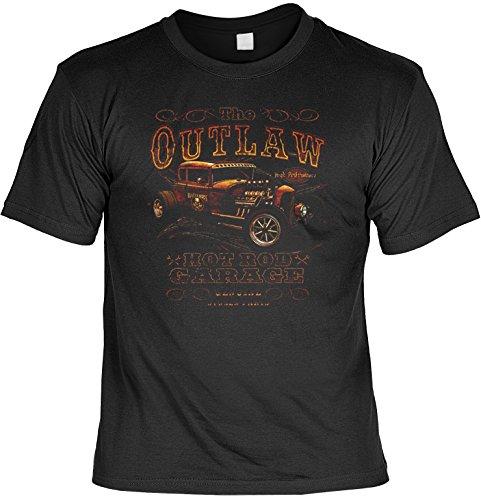 (Cooles Hot Rod Motiv Us-Cars / Oldtimer : The Outlaw Hot Rod Garage - Rockabilly T-Shirt Größe: M Farbe: schwarz)