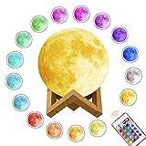 3D-Mond-Lampe LED Nachtlampe, Yunplus Nachtlicht Tischleuchte mit Dock, 16 Farbe Veränderung Dimmbare Helligkeits, Beste Hauptdekorative Romantisches Geschenk für Kinderzimmer & Baby - 5.9