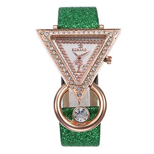 Quartz Armbanduhr, Luotuo Damen Mode Design Goldenes Dreieck Analog Quarz Uhr Luxus Diamant mit Leder Uhrenarmbänder Creative Zifferblatt Beiläufig Watch für Frauen Wilde Dekoration