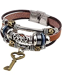 Young & Forever Handmade Brown Vintage Key Charm Leather Daily Wear Bracelets For Men (B55312)