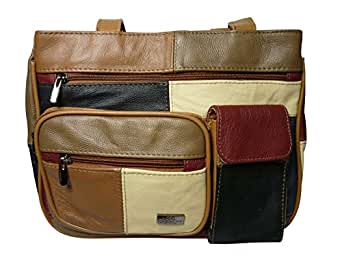 Leather Ladies Handbag Patchwork Soft Leather - Shoulder Handbags with 2 Straps - 2 Zipped Compartments - Mobile Phone Pocket - Rear Zip Pocket - QL824