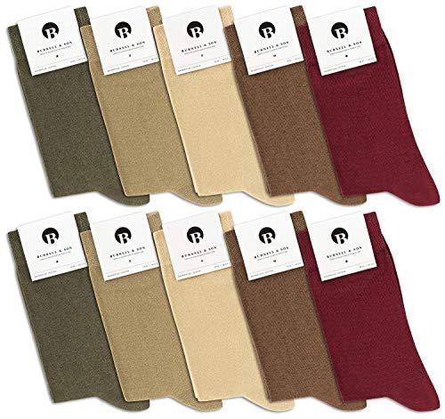 Premium-socken Set (Burnell & Son 10 Paar PREMIUM Socken aus fein gewobener Baumwolle | Damen & Herren | Business | verschiedene Farben | bequemer Komfortbund, 43/46, Waldfarben)