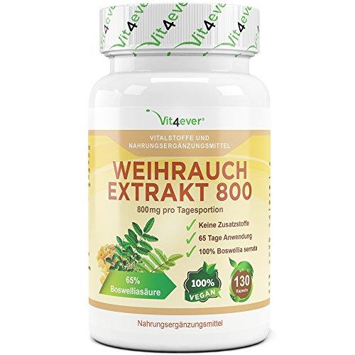 Weihrauch Extrakt 800 - 130 Kapseln - 800 mg pro Tagesportion - mind. 65% Boswellia-Säure - 100% Boswellia Serrata ohne Zusatzstoffe & Füllstoffe - Vegan - Premium Qualität - Vit4ever