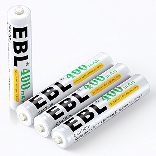 EBL Batterie ricaricabili AAAA 400mAh Ni-MH 1.2V,confezione da 4 pezzi a lunga durata