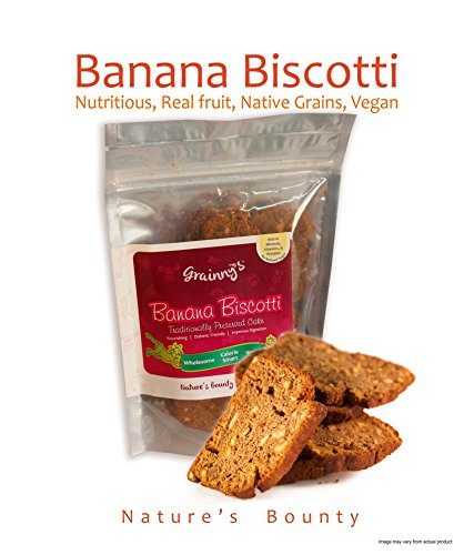 Grainny's Cookies Whole-Grain Organic Vegan Tea-Time Banana Cake Biscotti (150 gms)  available at amazon for Rs.190