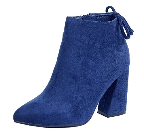 AgeeMi Shoes Damen Blockabsatz Stiefeletten Spitzen Reißverschlüsse Schuhe,EuX30 Marine 39 (Heel-schuhe Marine-blau-high)