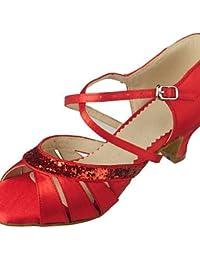 shangyi adaptable–métrica gefertigter tacón–Piel sintética–Danza del Vientre/Latin/Yoga/Danza Guantes/Hip Hop/Samba/Costura/estándar de danza–Zapatillas de mujer, rojo, us8.5 / eu39 / uk6.5 / cn40
