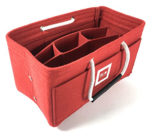 FIT IN Handtaschen Organizer Filz – HandtaschenOrganizer mit Handgriffen – mit Druckknöpfe – Beste Lösung fest fixiert inneren Fächer – Bag in Bag Handtaschenordner [33x16x16cm Rot, X-Large] (Handtasche Longchamp Große)
