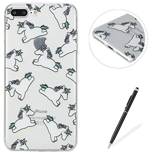 Feeltech iPhone 7 Plus 5.5 Custodia,Flessibile Ultra sottile Gel Soft TPU Silicone Case di Gomma Con il Motivo Divertente di Disegno Sveglio Shock-Assorbire Antigraffio Cover Protettiva Pelle Chiara  Unicorno