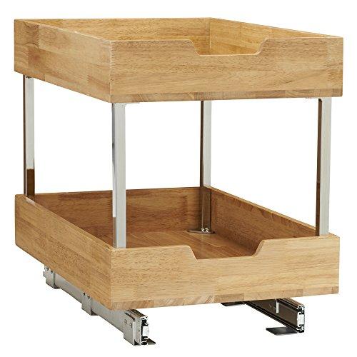 Household Essentials 24521-1 Glidez Bambus-Schiebeschrank, 2-stöckig, 36,8 cm breit, Holz (Räder Rev)