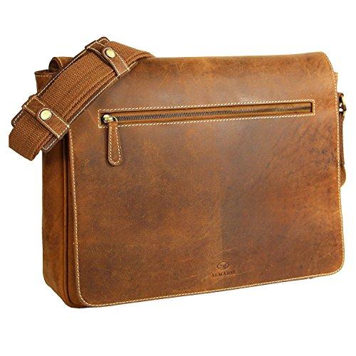 ALMADIH XL Leder Messenger aus Rindsleder braun Vintage M28 - Aktentasche mit vielen Fächern - Ledertasche Umhängetasche Businesstasche L...