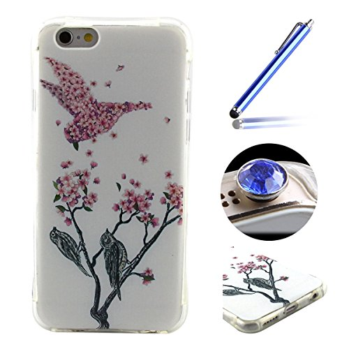 Etsue Custodia Per iPhone 6S,iPhone 6 Cover Tpu,Ultra Slim Sottile Colorate Dipinto Modello Soft Morbida Gomma Gel Antigraffio Protettiva Cover Case Per iPhone 6/6S 4.7+Blu Pennino e scintillio di Bli &4
