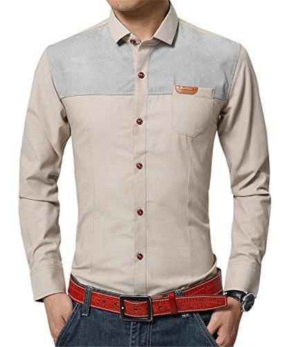 SHUNLIU Herren Freizeit Hemd Slim Fit Männer Langarm Modern Casual Freizeit Herbst Hemden Shirt Khaki