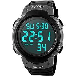 Mudder 5ATM Waterproof Digital Sports Military Multifunctional Dive Wrist Watch, Titanium