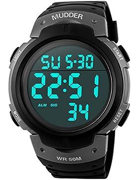 5ATM wasserdichte digitale Armbanduhr Herrenuhr Sportuhr militärisch und mehrfunktional, Titanium