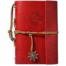 Retro Art Cuaderno, medieval Sailor Bosquejo Capitán, diario, Cuaderno piel. 88páginas, regalo de cumpleaños perfecto para familia o Amigos, color rojo