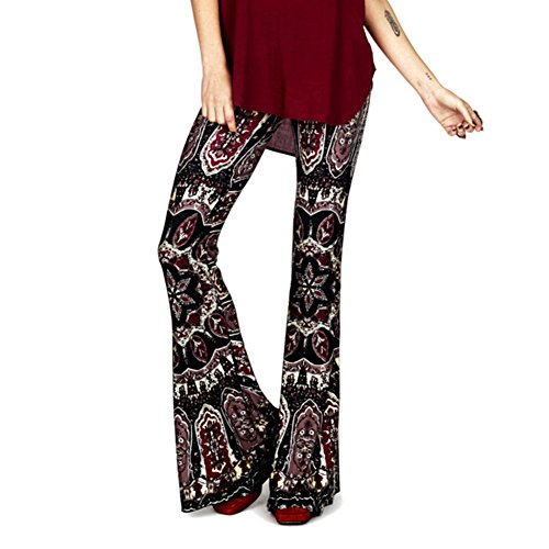 juqilu Wide Leg Trousers Women, Vintage Bootcut Trousers, Women High Waist Yoga Pants Comfortable Wide Leg Pants Fashion Printing Flared Trousers Modern Casual Long Pants Dance Party Daily Streetwera