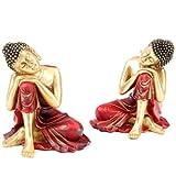 Thai Buddha Dekofigur schlafend auf dem Knie rot, gold Thailändischer Buddha Dekofigur Thailändischer Buddha rechts und links sitzend