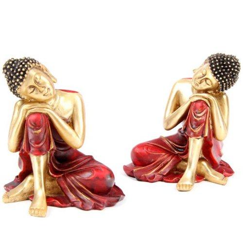 Decorativo dorado y rojo figura decorativa de Buda