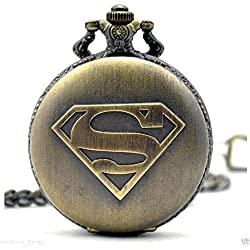 Superman - The Man Of Steel Logo Full Sized Antique Bronze Engraved Quartz Pocket Watch
