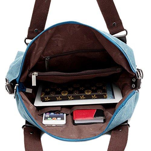 Minetom Damen Fashion Vintage Canvas Umhängetasche Handtasche Messenger Taschen Leinwand Tasche Kaffee