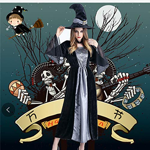 wojiaxiaopu Halloween Horror Hexe Cosplay Kostüm Hexe Cosplay Stage Pack Nachtclub Thema Party Kostüm Grau One - Hexe Themen Kostüm