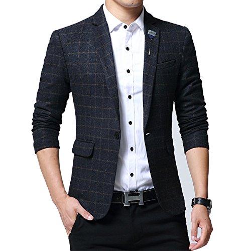 Mirecoo modisch Slim Fit Herren Tweed Sakko Blazer Kariert Design Hochzeit Party