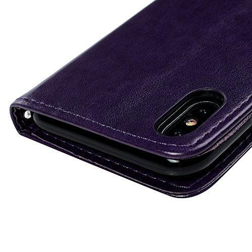iPhone X Flipcase YOKIRIN Wallet Case für iPhone X Handyhülle Flip Case Hardcase Schutzhülle Ledertasche Schmetterling Weinstock PU Leder Huelle Stand Halter Innere TPU Handytasche Schale Bookstyle Po Purple