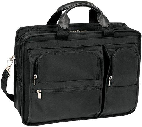 HUBBARD 58435 Laptoptasche mit 2 Fächern, Leder, klein, Schwarz -