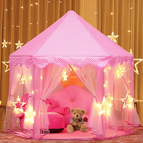 AUNLPB Jugar Carpa para niños niñas Pink Toy Play Tent/Playhouse/den Childrens Princess Pop up Castle Adecuado para Uso en Interiores y Exteriores