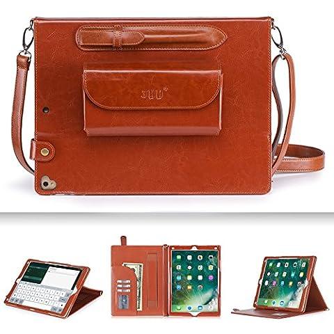 iPad Pro 12.9 Hülle, iPad Pro 12.9 Case, ipad pro 12.9 , Fyy® Luxuriöse Echte Lederhülle, allgewaltige Tasche für iPad Pro 12.9 (2017), Braun