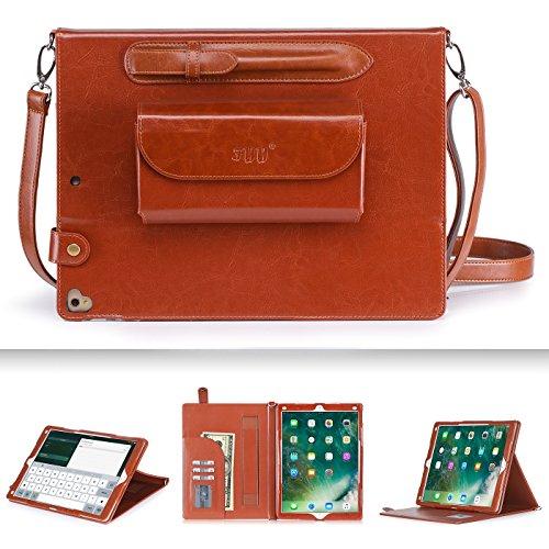 FYY Schutzhülle für iPad Pro 12,9 [Series Super Funktionales] Größe Deckung-Leder mit Schlitz für Karten elastischer Gurt Handtasche Stil Halterung für Apple iPad 12,9Pro D-marron iPad Pro 12.9 inch