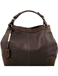 81415164 - TUSCANY LEATHER: AMBROSIA - Shopper Sac en cuir souple avec bandoulière, marron foncé