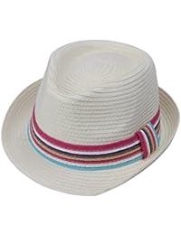 JTC Unisex New Mens Ladies Straw Fedora Sun Hat Jazz Caps Colored Band White